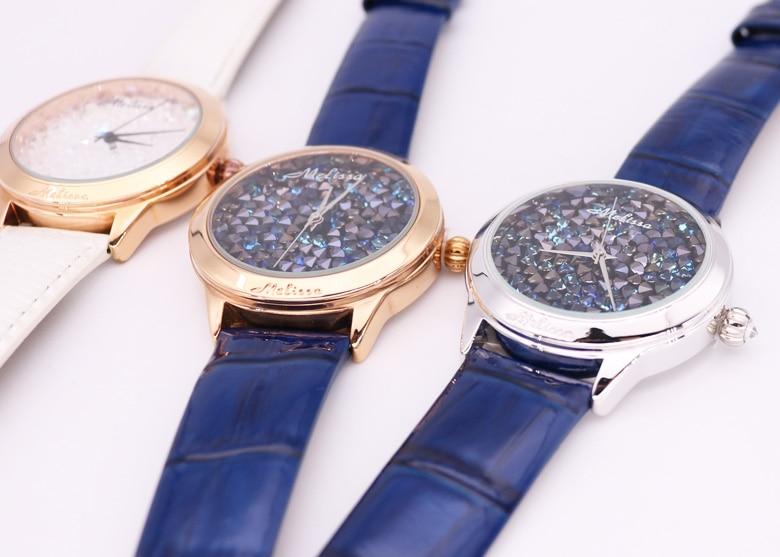 moda hora vestido pulseira de couro relógio