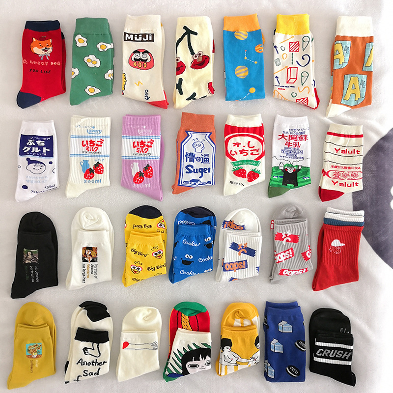 27 Kinds Spring Autumn Japanese Harajuku Style Funny Socks Women Korean Version Unisex Calcetines Mujer Meias 121107