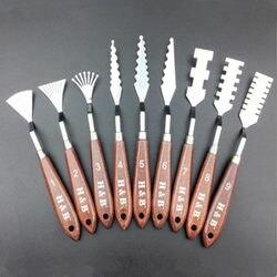 9 teile/satz Gemischt Edelstahl Palette Schaber Messer Set holzgriff Spachtel Für Künstler Ölgemälde Werkzeuge Schaber Klinge