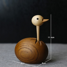 Handicraft Log Handmade Ostrich Puppet Solid Wood Ornaments Creative Home Decorations