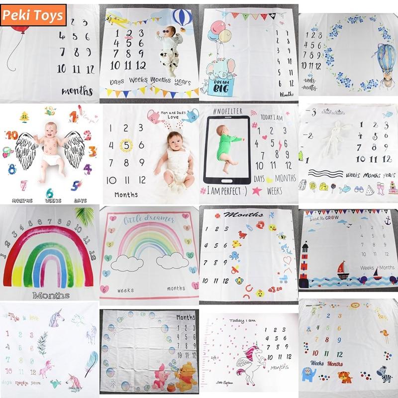 Baby Monatliche Milestone Foto Requisiten Hintergrund Decken Baby Spielen Matten Hintergrund Kalender Fotografie Zubehör