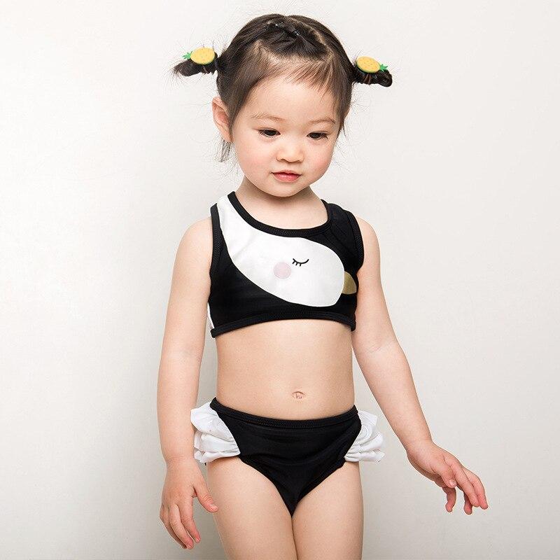 New Style KID'S Swimwear Girls' Two-piece Swimsuit Baby Cute Cartoon Swan Pattern Children Hooded Tour Bathing Suit