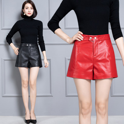 2020 Women New Real Genuine Sheep Leather Shorts KS65