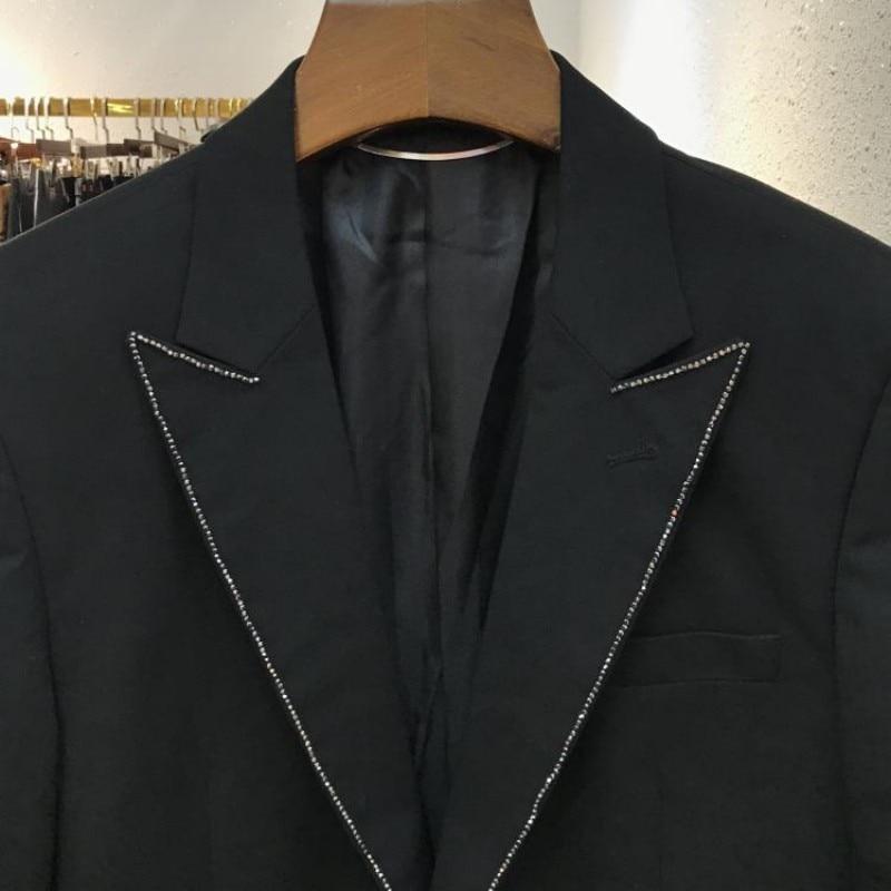 Brand Fashion Diamonds Rivet Blazer Suit Men Office Work Formal Terno Masculino TOP Quality Slim Fit Wedding Party Dress Suit