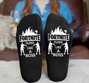 Fortnite Black Socks Men Street Hip Hop Skateboard Socks Fashion Letter Tube Socks for Couple Outer Sports Stocking Breathable 2