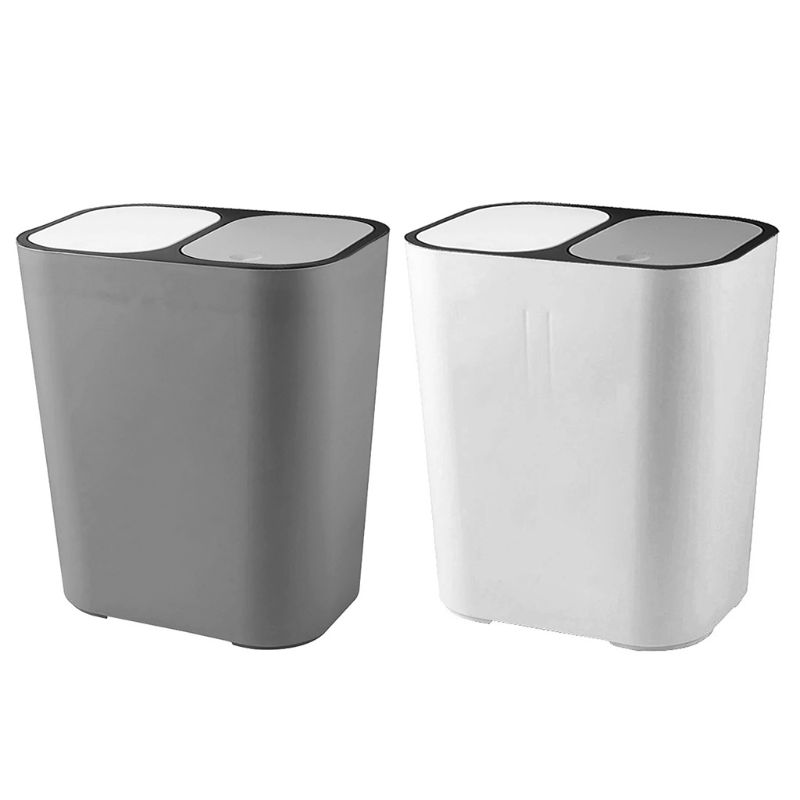 US $15.28 21% OFF|Bathroom Kitchen Trash Can Garbage Wastebaske Classified  Dry and Wet Two Class Rubbish Bin with Lid-in Waste Bins from Home & Garden  ...