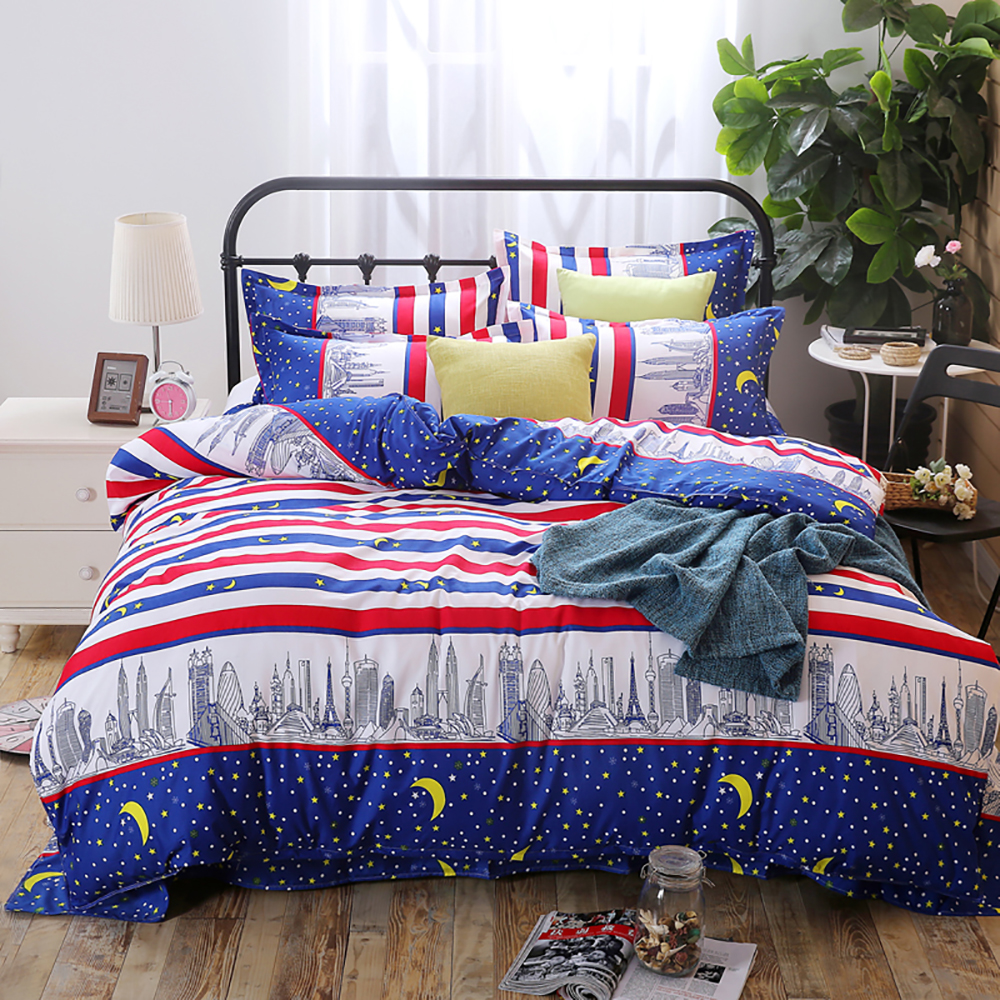 Thumbedding City Night Bedding Set King Size Fantasy Colorful Stripes Duvet Cover Starry Sky Queen Full Twin Single Bed Set