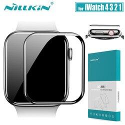Dla serii iWatch 4 3 2 1 szklany ochraniacz ekranu Nillkin 3D AW + pełna pokrywa szkło hartowane do zegarka Apple 38/40/42/44 MM