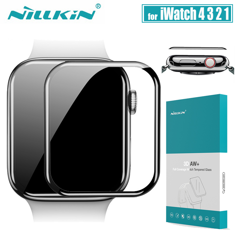 for iWatch Series <font><b>4</b></font> <font><b>3</b></font> <font><b>2</b></font> 1 Glass Screen Protector Nillkin 3D AW+ Full Cover Safety Tempered Glass for Apple Watch 38/40/42/44 MM image