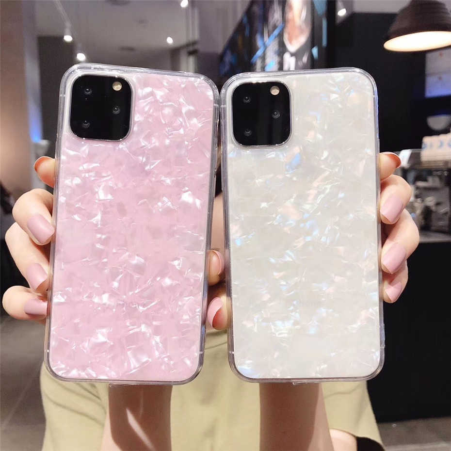 Qianliyao Schelp Epoxy Telefoon Case Voor iphone XR X XS Max 6 6s 7 8 Plus 11 Pro max Glitter Glossy Zachte TPU Cover