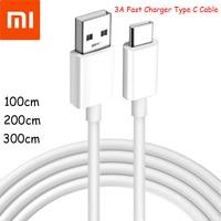 Xiaomi-Cable de carga rápida tipo C para teléfono móvil, Cable de sincronización de datos para Mi 10 9T 9se 8 Note 10 Lite CC9 Pro, 1/2/3M