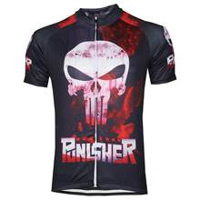 HIRBGOD 2020 New Funny Skull Print Bike Jersey Men Short Sleeve Cycling Clothing Punisher Blood Color Black Bike Shirt Top HK353 cheap Polyester Spring summer AUTUMN Jerseys Full Zipper Fits true to size take your normal size Twill Breathable Quick Dry Anti-sweat