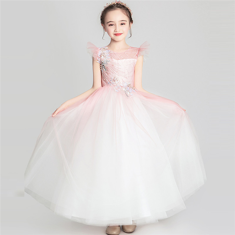 3~14Years Children Kids Good-Quality Light Pink Color Wedding Party Birthday Evening Dress Girls Pageants Ceremony Prom Dress