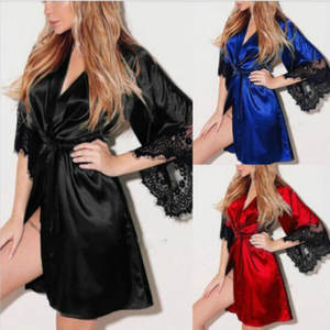 Sleepwear Bathrobe Gown Sexy Lingerie Night-Wear Satin Women's Ladies Lace Summer Transparan