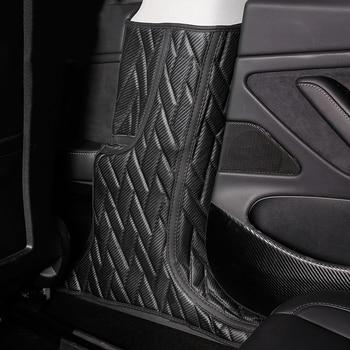 2pcs Car B Pillar Anti-kick Pad Leather Protector Anti-dirty Pad Mat Interior Modified Decoration For Tesla Model 3 Accessories