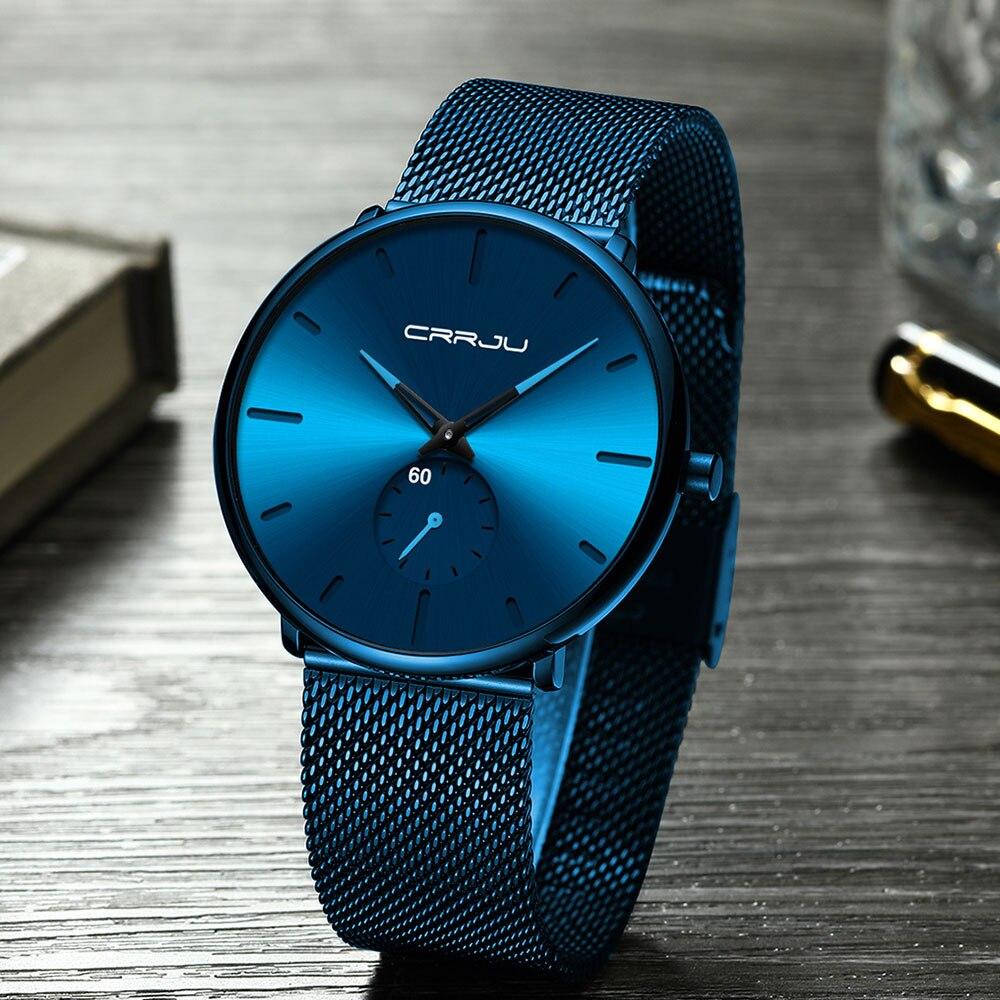 H21c361d3b4d84a7e8f6ec20f95d68967W CRRJU Ultra Thin Blue Stainless steel Quartz Watches Men Simple Fashion Business Japan Wristwatch Clock Male Relogio Masculino