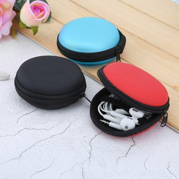 Portable Mini Round Hard Storage earphone case for Earphone SD TF Cards  for xiaomi Samsung headphone storage box 1pc 5 Colors C