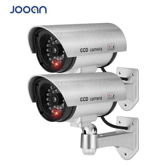 2 adet kukla sahte kamera CCTV gözetim kamera dükkanı ev güvenlik LED ışık simülasyon kamera su geçirmez açık kamera