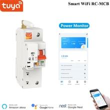 Alexa Tuya חכם מפסק 1P WiFi מתג עומס יתר הגנה קצרה ניטור צריכת אנרגיה חכם RC MCB