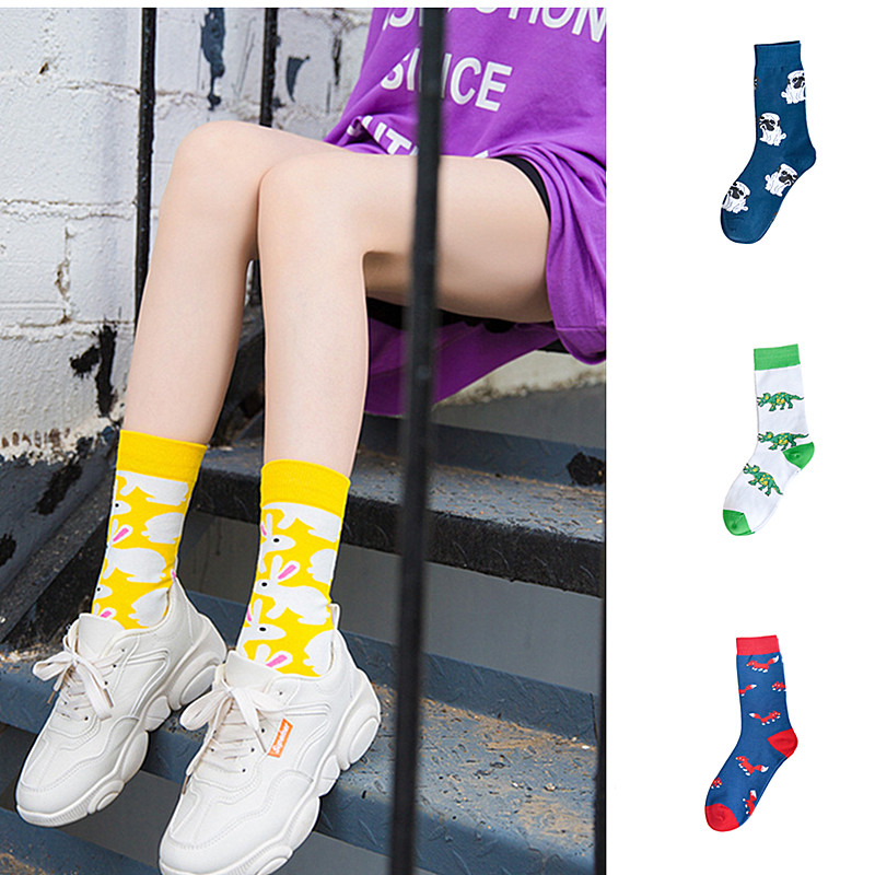 Fashion Woman New Cute Fox Rabbit Dinosaur Dog Woman Long Socks Meias Happy Unisex Kawaii Cartoon Animal Warm Cotton Socks