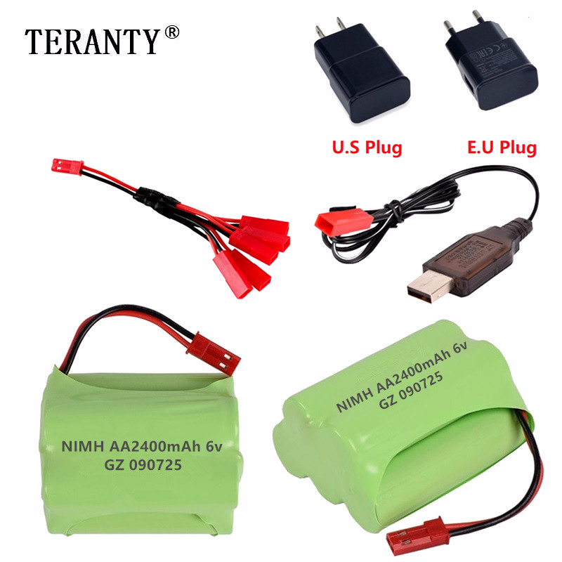 (JST Plug) NiMH 6v 2400mah Battery + USB Charger For Rc toys Cars Tanks Robots Boats Trucks Guns AA 6v Rechargeable Battery Pack image