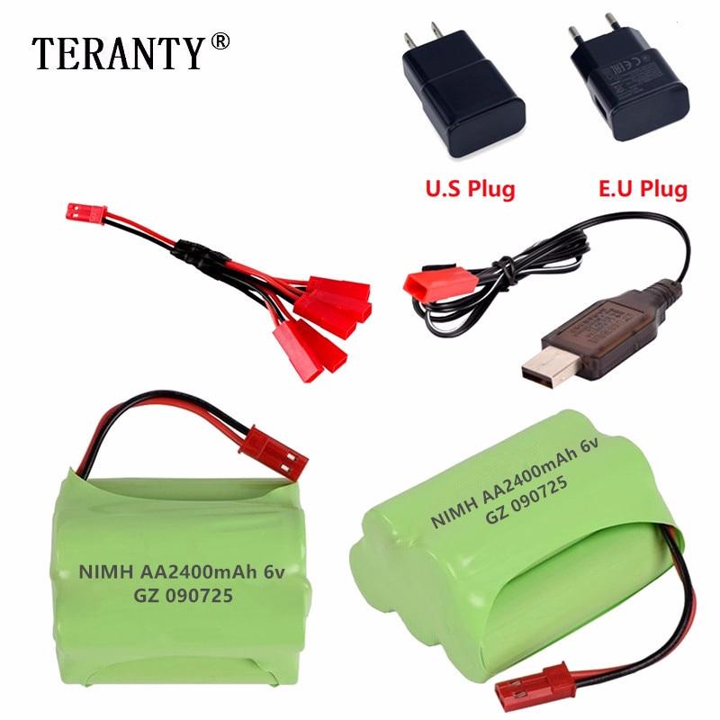 (JST Plug) NiMH 6v 2400mah Battery + USB Charger For Rc Toys Cars Tanks Robots Boats Trucks Guns AA 6v Rechargeable Battery Pack