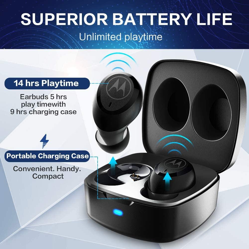 Стереонаушники Motorola Bluetooth 5, настоящие беспроводные наушники, время воспроизведения 14 часов, водонепроницаемость, сенсорное управление, умн...