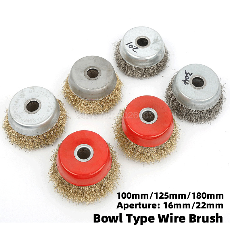 1Pcs Bowl Shape Wire Wheel Grinder Brush Steel Metal Polishing Crimped Bristles Angle De Rust Hole Grinding Line Copper