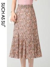 Women S Summer Skirts 2021 Black Pink Floral Chiffon Mid Long Mermaid Elastic High Waist S 3XL Size Slim Ruffle Skirt Female