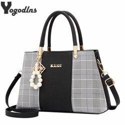 Популярные Лоскутные женские сумки на плечо элегантные женские клетчатые сумки через плечо с ручкой сверху с подвеской