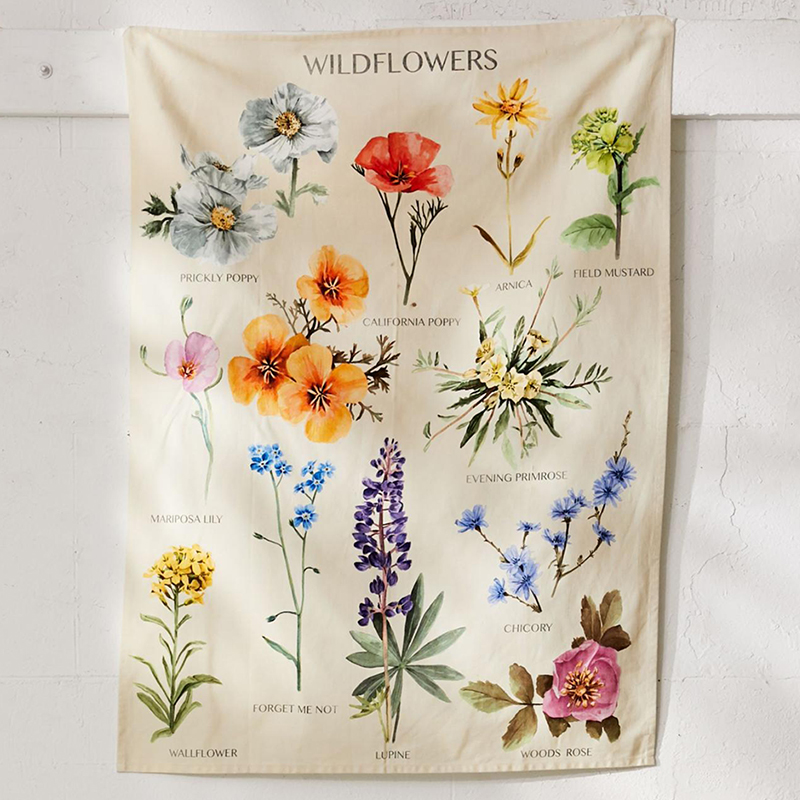 Botanical Wildflower Tapestry Wall Hanging Flower Reference Chart Hippie Bohemian Tapestries Colorful Psychedelic INS Home Decor 1