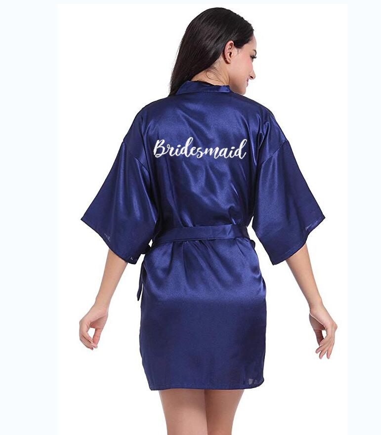 Navy Blue Robe White Writing Kimono Satin Robe Bridesmaid Sister Of The Bride Robes Wedding Best Gift Drop Shipping