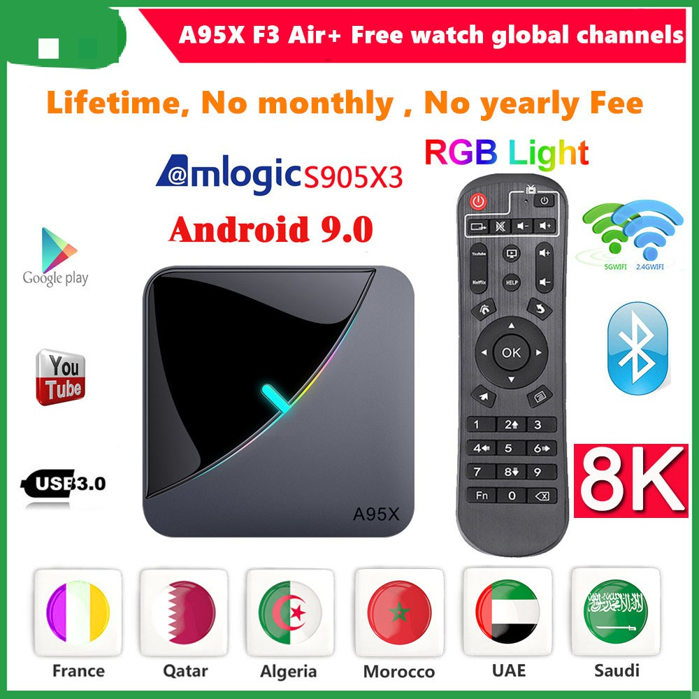 lifetime tv box A95X F3 Air Smart TV Box Amlogic S905X3 Android 9.0 TV Box 8K RGB Light Media Player 4K Netflix A95X Box