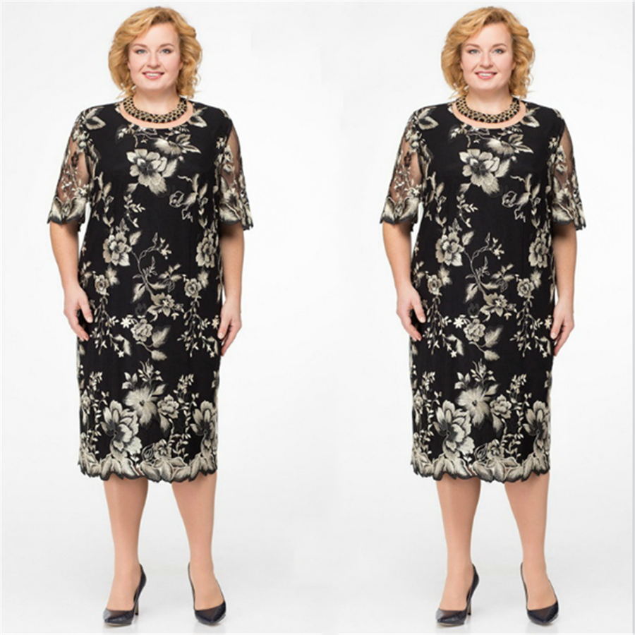 Plus Size Women Elegant Lace Embroidery Keen-length Dress Spring Half-Sleeve Flower Print Dress Formal Black Vintage Vestiods