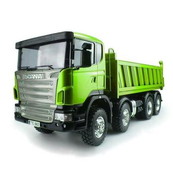 LESU 1/14 Metal Chassis Sca 8*8 Hydraulic Lifting RC Dumper Truck Paint Green Color Model THZH0476