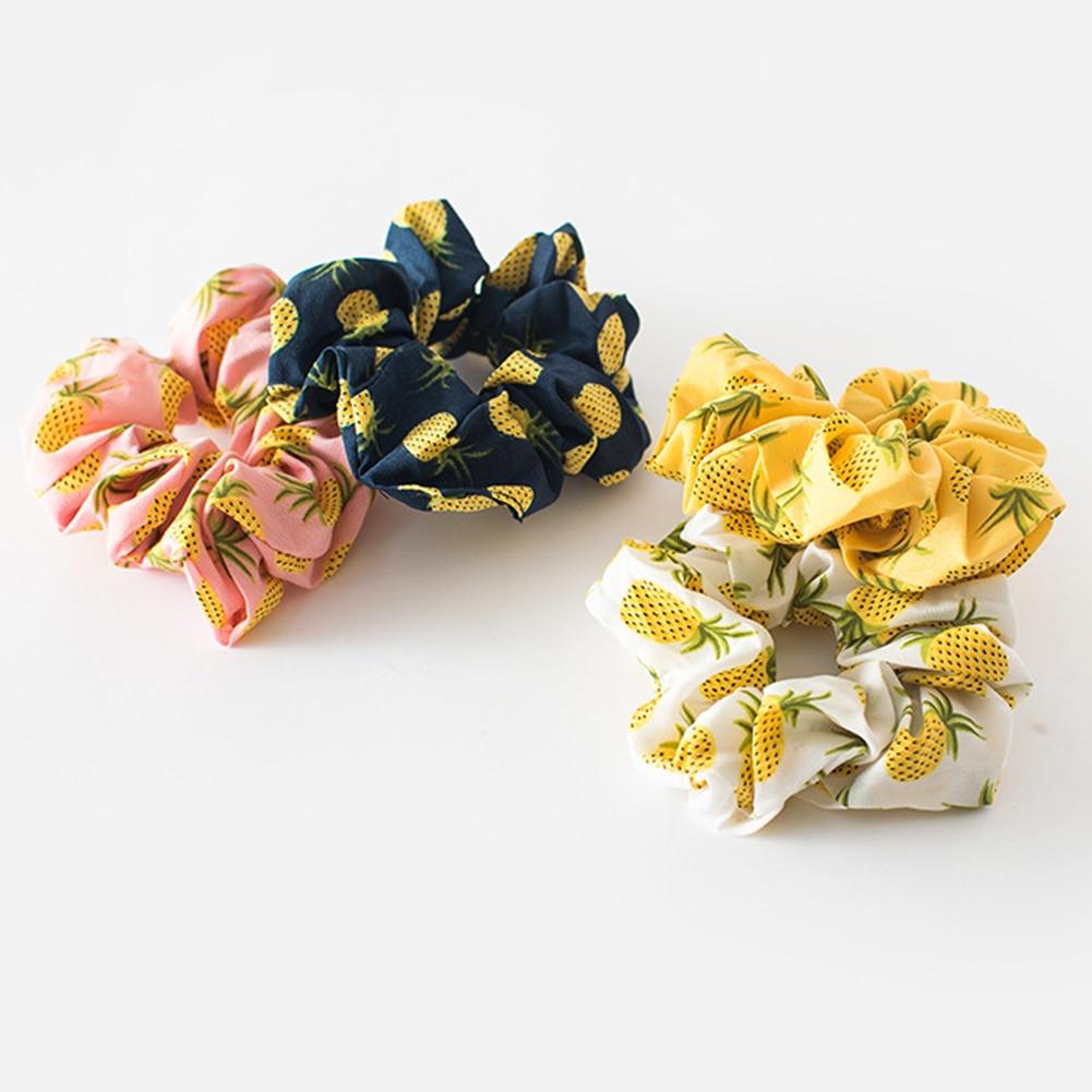 New Women Cute Pineapple Strawberry Crude Elastic Hair Bands Ponytail Holder Sweet Scrunchie Headband Fashion Hair Accessories