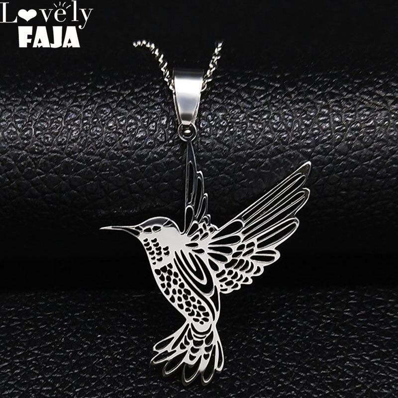Hummingbird StainlessSteel Necklaces Women Silver Color Bird Necklaces & Pendants Jewelry acero inoxidable joyeria mujer N19980