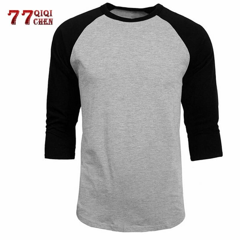 T Shirt Men 2020 Spring Summer Casual O-Neck Slim Fit 3/4 Sleeve Tops Tees Streetwear Cotton Baseball Raglan Jersey T-Shirt Men