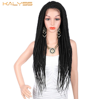 Kalyss 28 Inches Braided Wigs Synthetic Lace Front Wig for Black Women Baby Hair Box Braid Wig Faux Locs Braid Wig Women's Wig