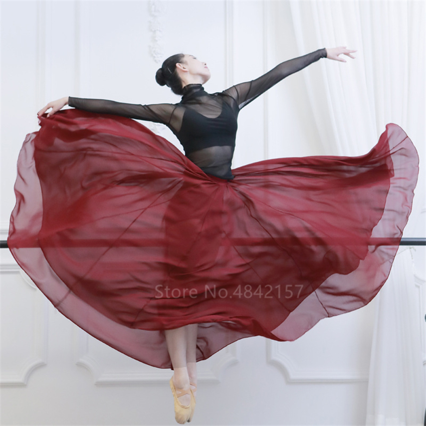 Elegant Woman Flamenco Dancing Skirts Solid Chiffon Stage Performance Perspective Spanish Gypsy Flamengo Belly Ballroom Skirts