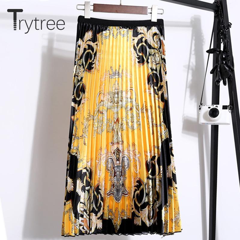 Trytree Autumn Winter Women Casual Empire Skirt Yellow Print Pleated A-line Fashion Elastic Waist Mid-Calf Office Lady Skirt