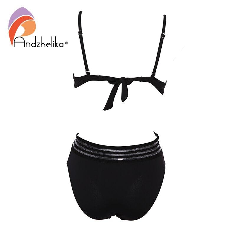 Andzhelika Sexy One-piece Swimsuit Push Up Swimwear Patchwork Mesh Backless Swimwear Beach Monokini Ladies Bathing Suit 4