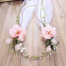 Veil Headdress Hand-Woven White Baroque Bride Wreath Rose-Head Women Lady