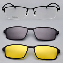 Spectacle-Frame Magnet-Clips-Mirror-Sunglasses Pure-Titanium Men for with Night-Vision-Mirror