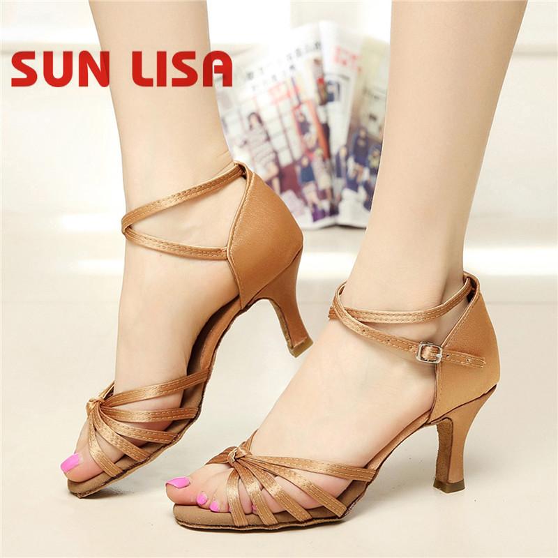 SUN LISA Women's Lady's Girl's Dancing Shoes With High Heels Salsa Tango Ballroom Latin Dance Shoes