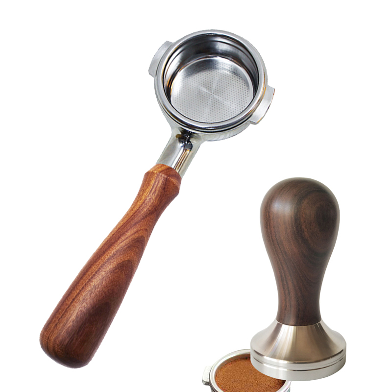 AREYOUCAN 304 Stainless Steel Base Wooden Handle Tamper Coffee Powder Hammer 51/58mm Coffee Accessories Naked Portafilter