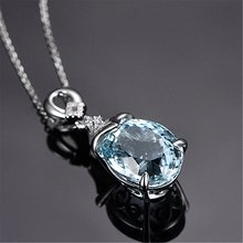 Sky Blue Topaz Stone Carat Pendant Oval Shape Solitaire Natural Topaz Silver Colour Chain Necklace For Women(China)