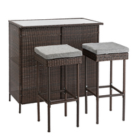 1 Set Garden Sets Outdoor 3 Piece Brown Wicker Bar Set Glass Bar and Two Stools with Cushions E2S