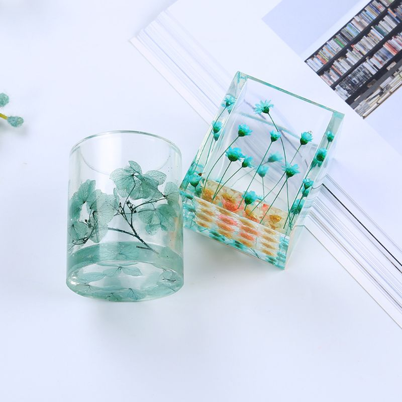 Silicone Mold Epoxy Resin DIY Pen Container Organizer Square Round Storage Holder Silica Molds Crafts Jewelry Making Charms