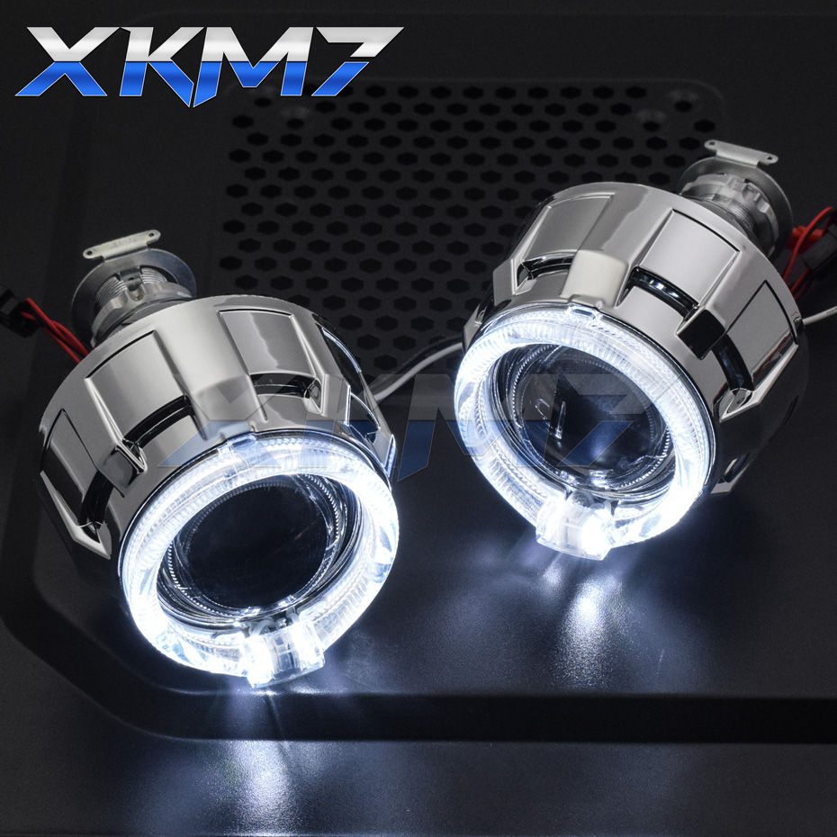 Headlight Lenses Angel Eyes LED H4 H7 HID Projector Bi-xenon 2.0 Lens DRL Halo Running Lights For Car Accessories Tuning Style